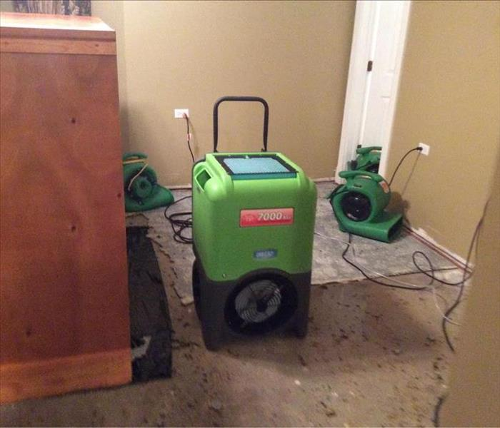 SERVPRO equipment in room