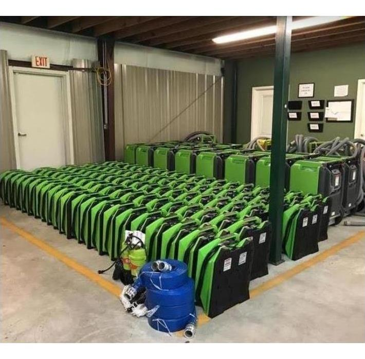 SERVPRO drying and extraction equipment in storage facility